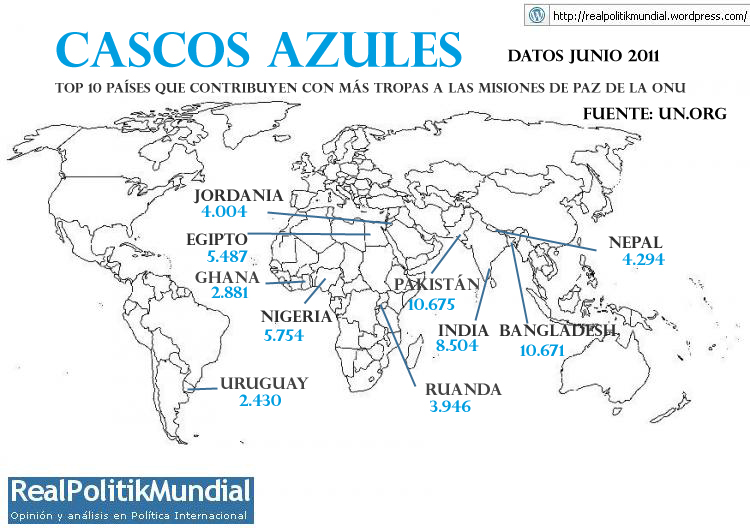 Resultado de imagen de países cascos azules