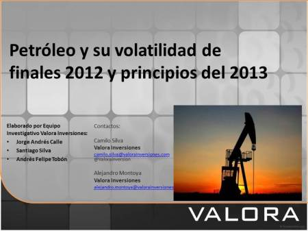 Petróleo y su volatilidad .