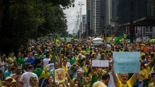 Protestas en Brasil en contra del gobierno de Dilma Roussef. Fuente: BBC.com